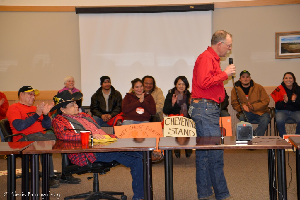 Rancher Brad Sauer testifies at the DEQ Otter Creek Hearing in Lame Deer.