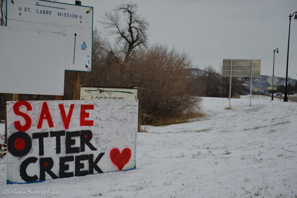 The SAVE OTTER CREEK sign put up the day after the No Coal Gathering with over 200 signatures on  Highway 212 in Lame Deer.