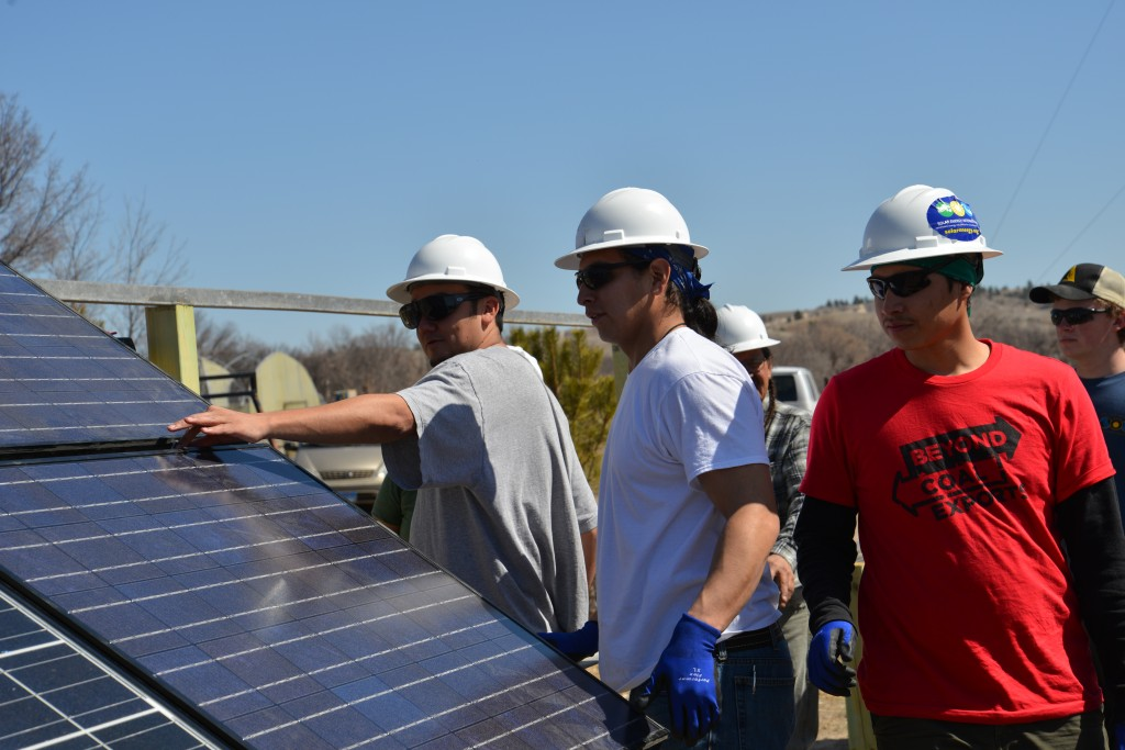 Northern Cheyenne solar warriors at Henry Red Cloud's Renewable Energy Center in Pine Ridge. Summer 2013.