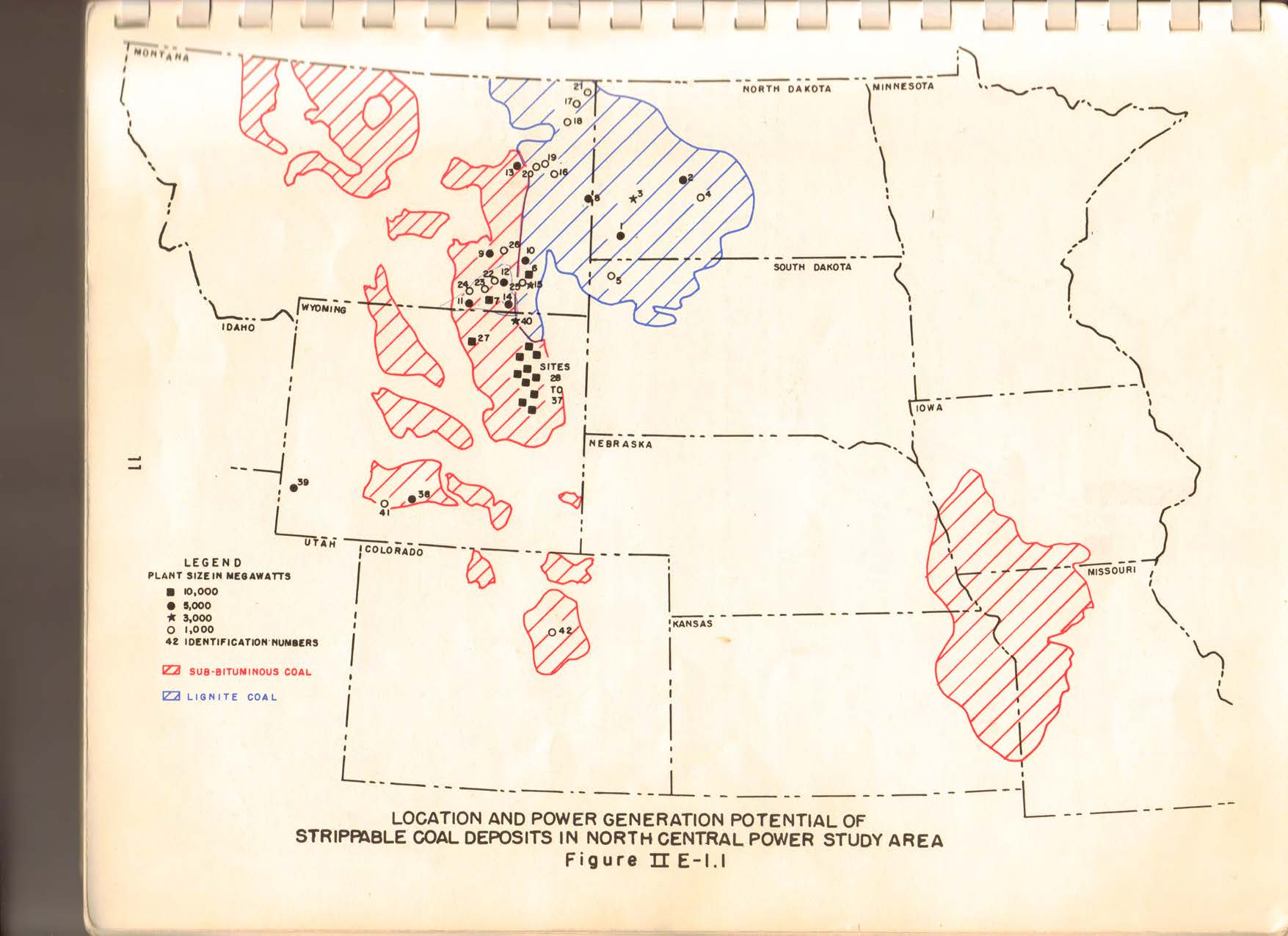 Map of proposed coal mines and coal fired power plants included in the North Central Power Study 1971.