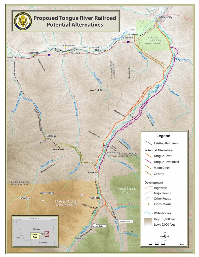 Map of the different alternatives of the Tongue River Railroad. STB.
