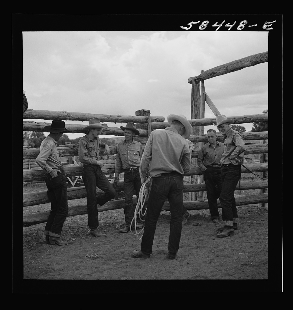 Dudes in the corral at Quarter Circle U Ranch. Birney, Montana1941 Aug.  Wolcott, Marion Post, 1910-1990,