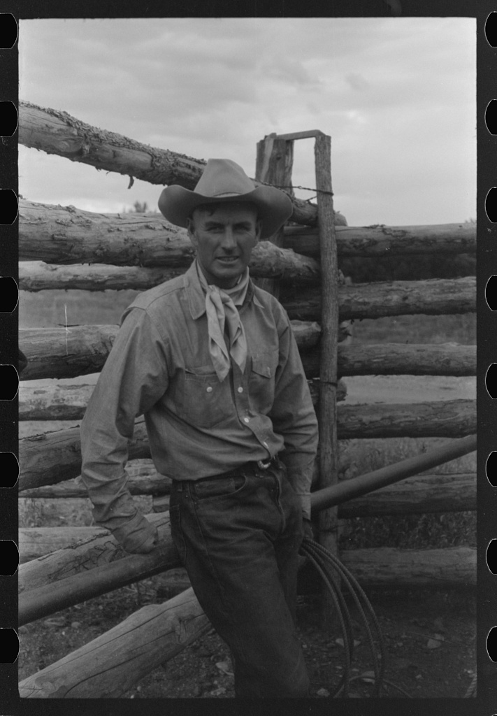 "[Untitled photo, possibly related to: Dudes learning how to throw a rope, ""roping"" during a ranch rodeo contest. Brewster Arnold Quarter Circle U Ranch, Birney, Montana][1941 Aug.]  Wolcott, Marion Post, 1910-1990,"